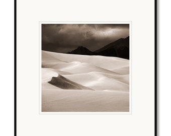 Great Sand Dunes, Colorado, national park, photography, black and white, sepia warm tone, framed photo by Adrian Davis, limited edition art