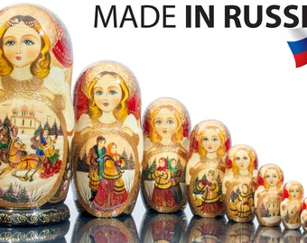 "Russian Nesting Doll - VERY BIG size - 10 dolls in 1 - Russian Beauty - ""TROYKA""- Hand Painted in Russia"