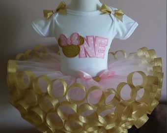 Beautiful pink and gold minnie mouse 1st, 2nd and 3rd  birthday round ribbon tutu outfit