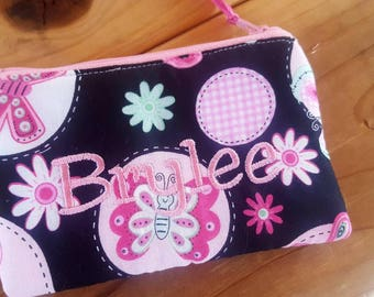 Butterfly Coin Purse, Girls Zipper Wallet, Girl's Change Purse, Butterfly Pouch, Earbud Pouch