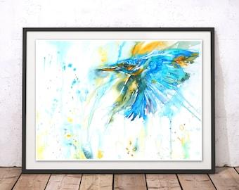 Kingfisher Painting, As Kingfishers Catch Fire Art Print, Kingfisher Wall Art, Bird Watercolour Home Decor by Liz Chaderton