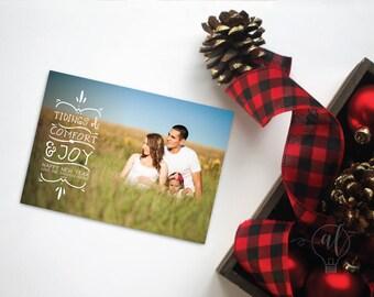 Tidings of comfort & Joy - Photo Christmas Card - Christmas Card - Photo Holiday card - photo card - christmas photo card