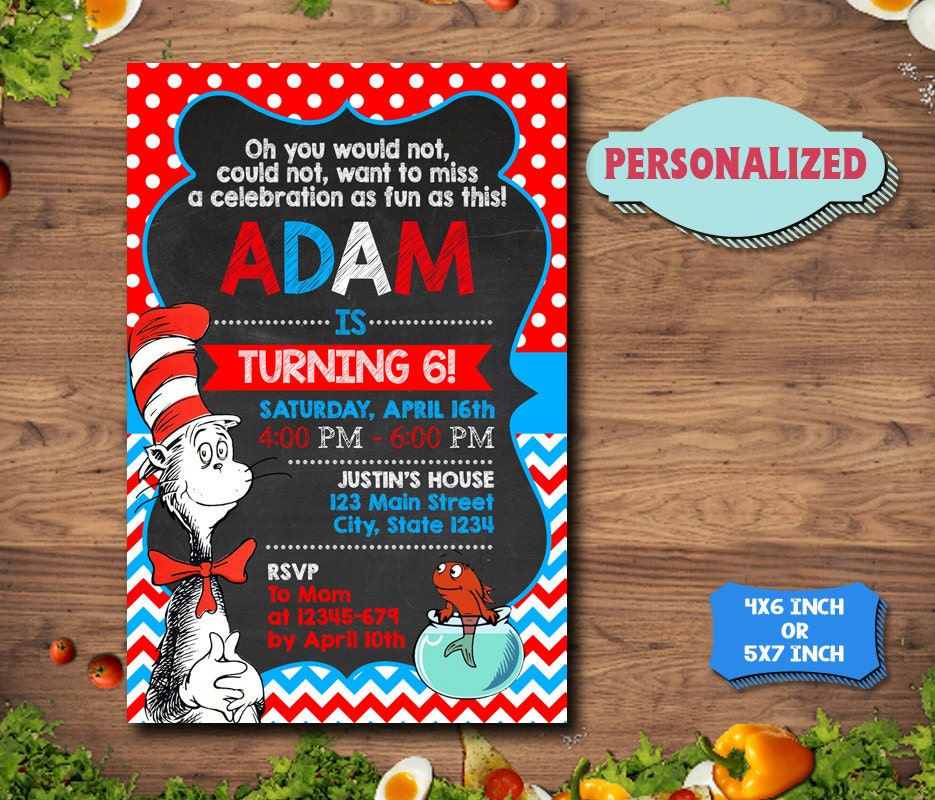 Dr Seuss Invitation / Dr Seuss Birthday Invitation / Dr Seuss