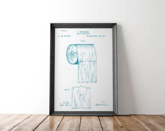 Blueprints etsy toilet paper patent poster toilet paper patent art blueprint art patent wall art malvernweather Image collections