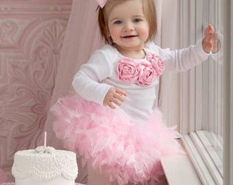 1st Birthday Girl Feather Outfit Bodysuit, Feather Bloomer & Headband Set, Cake Smash Outfit, Feather Tutu, Feather Skirt, 1st Birthday Prop