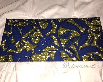 African Print Oversized Envelope Clutch (Green floral)