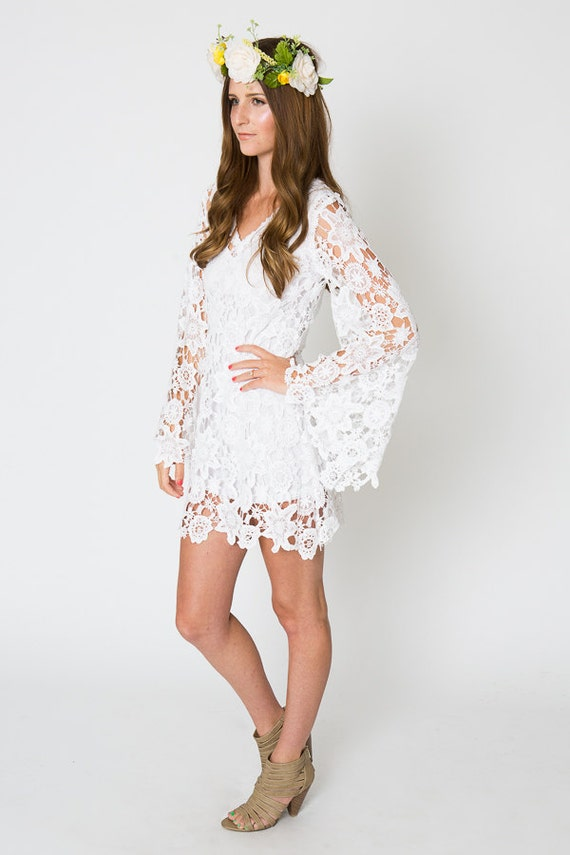 LACE mini dress BELL SLEEVE / bohemian wedding dress /