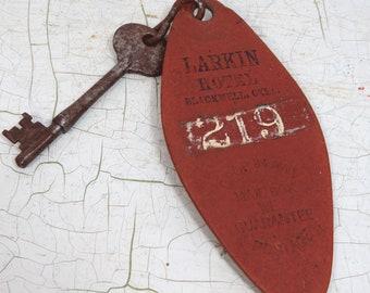 Leather Hotel Key Fob & Rustic Key, Larkin Hotel, Blackwell, OK, Historic Hotel
