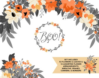 Halloween Orange, Yellow, and Black Floral ClipArt |Fall Flowers | Black Leaves, Wedding Wreath, Branches and Borders | Charcoal Foliage