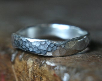 """Recycled sterling silver """"curvy"""" wedding ring. Hammered Finish. Hand made to order in the UK"""