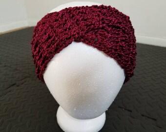 Crochet metallic wine red head wrap / ear warmer
