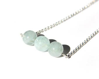 Sterling Aquamarine Necklace Natural Aquamarine Light Aqua Pale Blue Sterling Silver Argentium Chain Gemstone Bar Necklace Three #17535