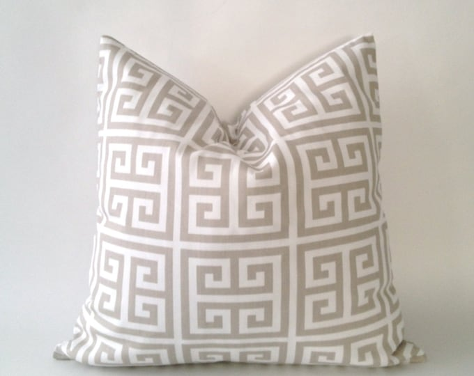 SET OF TWO 16x16 to 18x18 Greek Key Print Decorative Pillow Covers - Tan Or Sage Blue - Medium Weight Cotton- Invisible Zipper Closure
