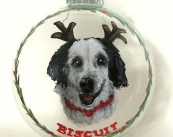 Custom Dog Ornament, Painted Pet, Christmas Ball, Holiday Decor, Pet Loss Memorial, Animal Art, Tree Decoration, Pet Painting, Dog Decor
