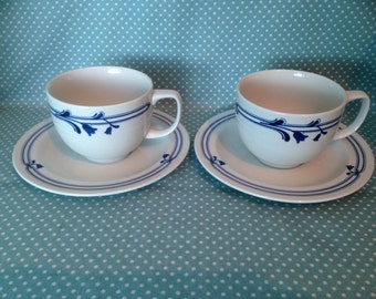 2 vintage Adams Pottery Bluebell design duos. Cups & saucers. Tea set. - FREE UK POST -