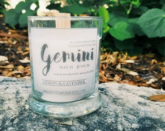 Gemini Soy Zodiac Hidden Gemstone Candle Lemon & Lavender