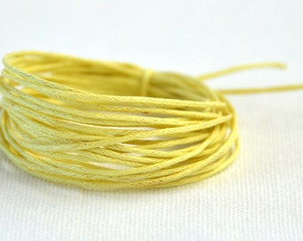 Waxed Cotton String, Cord, 1 mm Lemon, 3m length