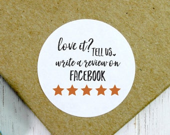 Review Stickers, 5 Star Stickers, Review Labels, Facebook Review, Facebook Shop Stickers, Feedback Stickers, Love It Stickers (11-0001-039)