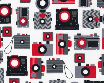"""Ann Kelle's new line """"This and That"""", Retro Antique Camera's in Jet Black and white and red, 1/2 yard"""