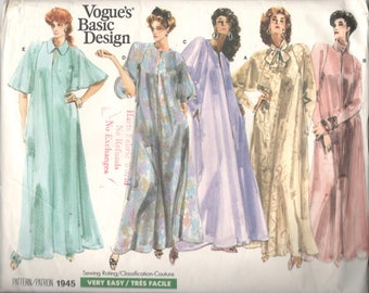 Vogue 1945 1980s Misses Pullover Caftan Pattern Very Easy Evening Length Womens Vintage Sewing Size  Pt S M  Or L XL UNCUT