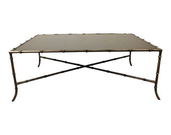Coffee Table Maison Bagues Style Faux Bamboo Iron Glass Top Coffee Table