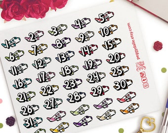 Airplane Travel Countdown Numbers Date Planner Stickers | Life Planners | Vacation | Holidays