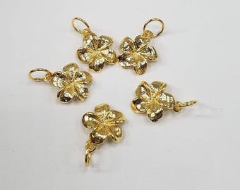 18k Vermeil (Gold Over Sterling Silver) Plumeria Flower Charm or Pendant, Hawaiian Theme