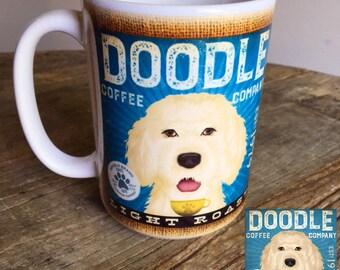 Doodle Goldendoodle Labradoodle dog Coffee company graphic art MUG 15 oz ceramic coffee mug