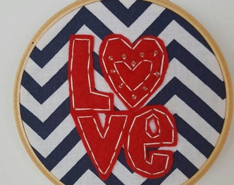 Felt Hoop Art, Valentines Day Ornament, Love Wall Art, Felt Ornament, Embrodiery Felt Ornament, Beaded Love Ornament, Hanging Wall Decor
