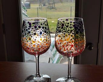 Rainbow Polka Dot Wine Glasses