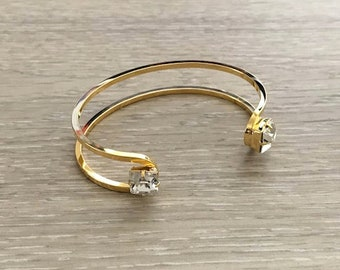 Swarovski Crystal Double Cuff, Wire Cuff, Gold Cuff, Rhinestone Cuff