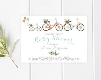 Baby Shower Invitation, Bicycle Baby Shower Invitation, Girl Baby Shower Invitation, Boy Baby Shower Invite, Vintage Bicycle, Custom [211]