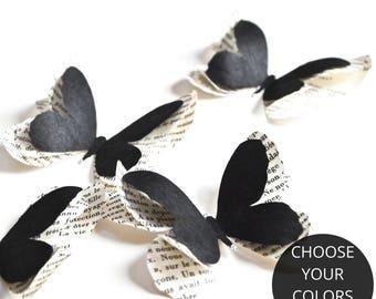 Black paper butterflies, gothic home decor, black wedding decor, soft goth wedding, halloween decorations, gothic birthday party decor