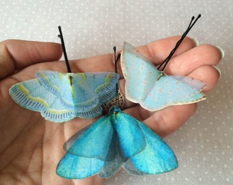 Handmade Butterfly Hair Bobby Pins in Light Blue Cotton and Silk Organza Fabric - 3 pieces