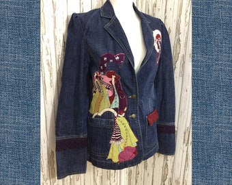 Unique Denim Jacket, 70s Denim Blazer, Upcycled Jacket, Festival Denim, Festival Jacket, Vintage Denim, Vintage Jacket, Art Deco, OOAK