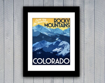 Colorado Travel Print Rocky Mountains Vintage Style Poster in Deep Blue, Yellow, Orange Textures