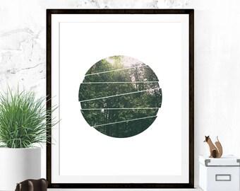 Nature Art Print, Landscape Print, Foreset Art, Circle Art Print, Wall Decor, Apartment Art, Geometric Art, Minimalist Art, Printable Art
