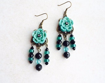 Flower Chandelier Mexican Earrings, Turquoise Flower Statement Earrings, Blue Black Southwestern Earrings