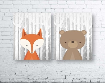 Square WOODLAND Animals Wall Art Print-Set of Two (2) - Digital Download. Woodland Creatures Wall Art Printable. Forest Friends Printable.