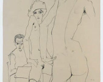 """Schiele Egon, 10, Lithograph, """"Drawing Model in front of a mirror"""" printed 1968"""