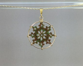 Nautical doily necklace, camo hand-dyed silk thread, 14K gold-filled