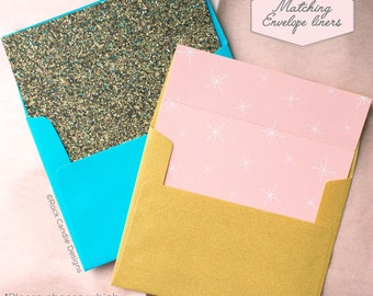 Printed Matching Envelope Liner   A2 Sized Liner   Let's Just Pretend Card   Card to Ask Your Bridesmaid to be in your Wedding Party   MOH