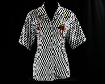 Size 10 Latin Dancers Shirt - 1980s Silky Top - New Wave Chic - 80s - Black & White Checked - Samba Style Novelty Print - Bust 40.5 - 42974