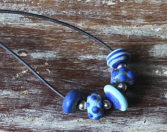 Blue Lampwork and Sterling Silver Leather Necklace b