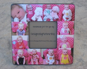 """Personalized Baby's First Year Frame, Baby Collage Picture Frame, Unique Custom Family Photo Frame, Father's Day Gift, Birthday 8"""" x 8"""""""
