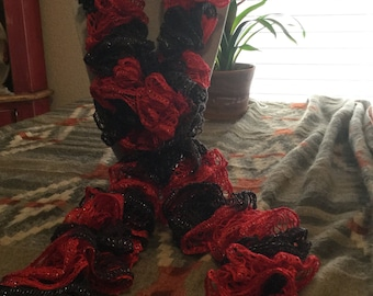 Red and Black Spiral Scarf