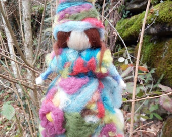 Magic Fairy in carded wool.Needle felt.Protector of the house and kids.Suitable as a gift