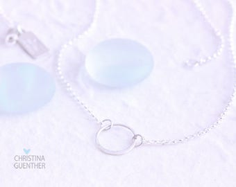 Dainty Silver Necklace, Delicate Simple Silver, Open Circle, Gift for Her, Eternity, Bridesmaids Gift, Layer Necklace, Christina Guenther