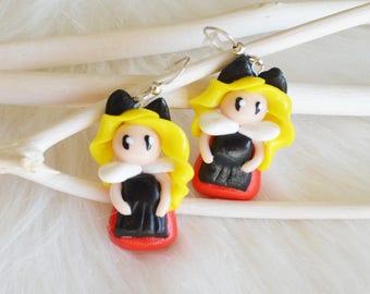 Alsacian earrings - fimo earrings - clay earrings - blond Alsacian - Alsacian jewelry