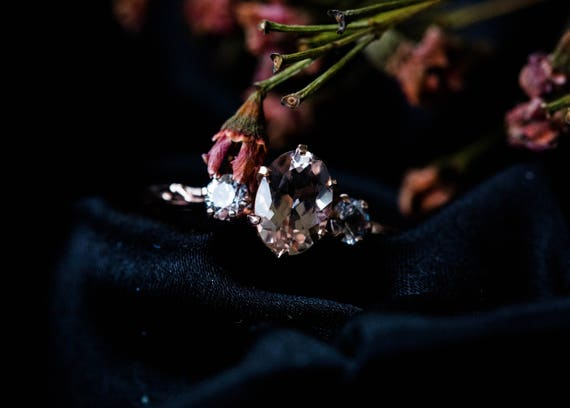 Oval three stone morganite sapphire engagement ring, 14k gold twig engagement ring, 14k gold sapphire twig engagement ring